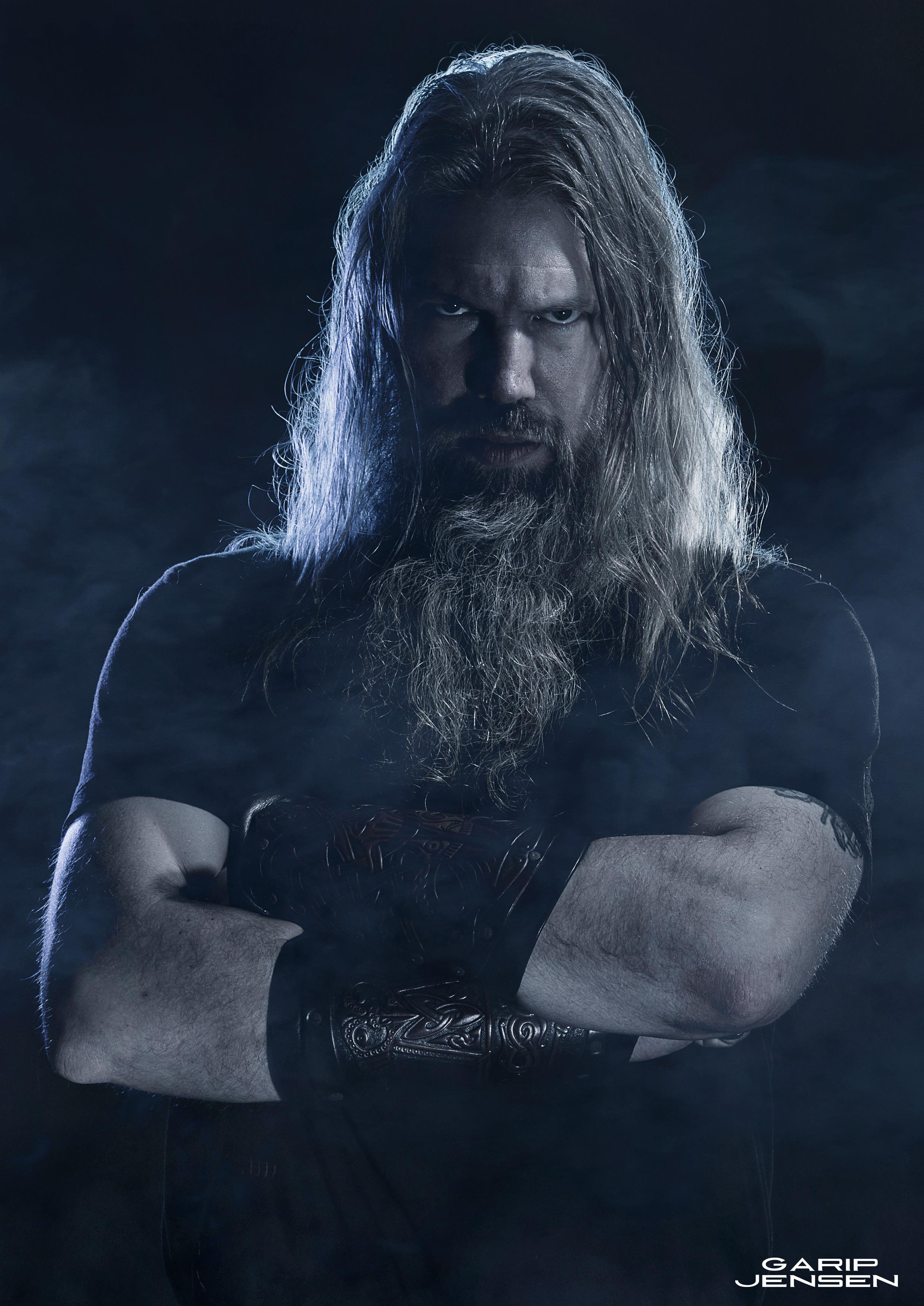 Studio photo of Johan Hegg from the Death Metal band Amon Amarth