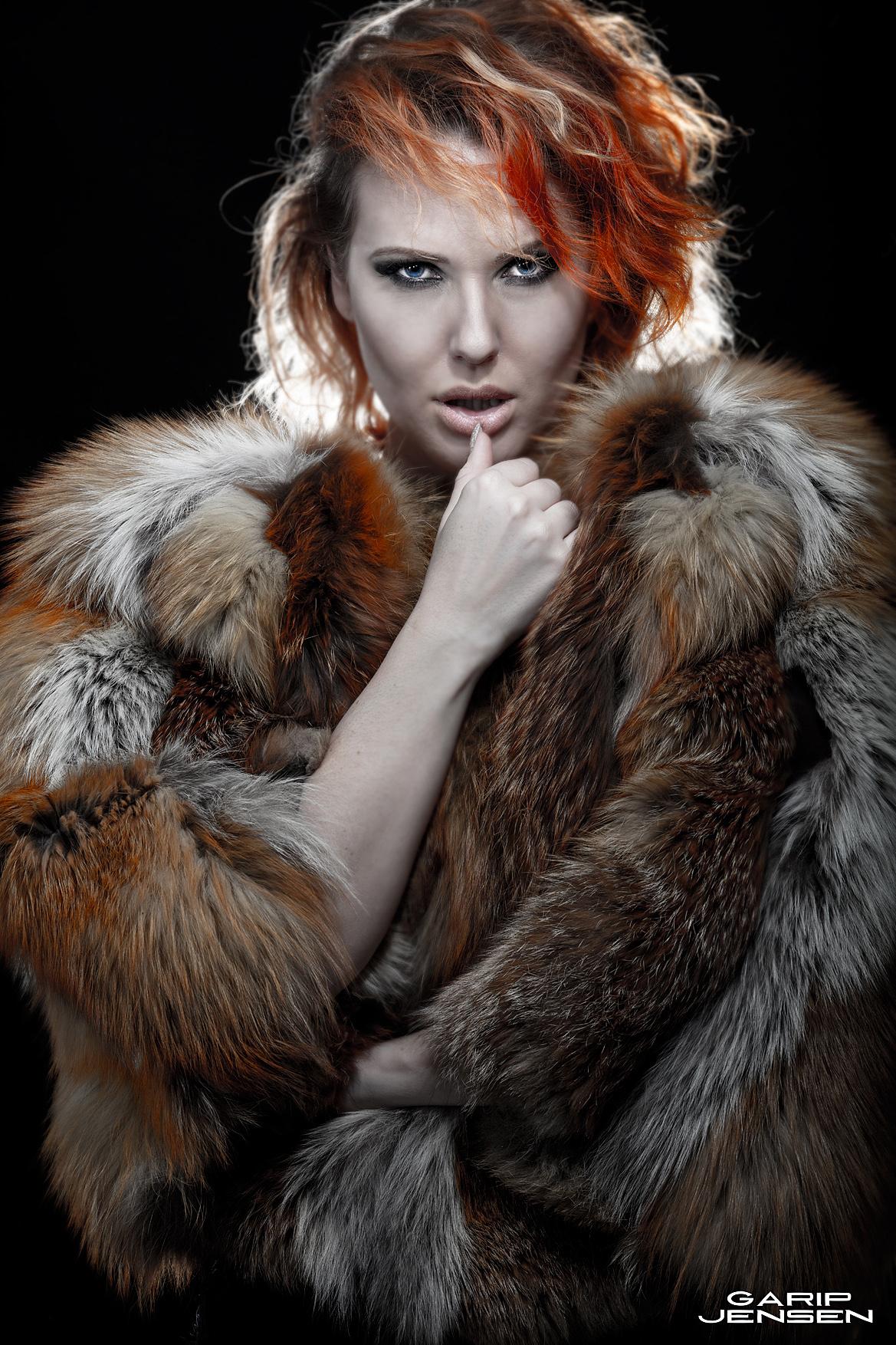 Swedish model in a foxy fur coat.