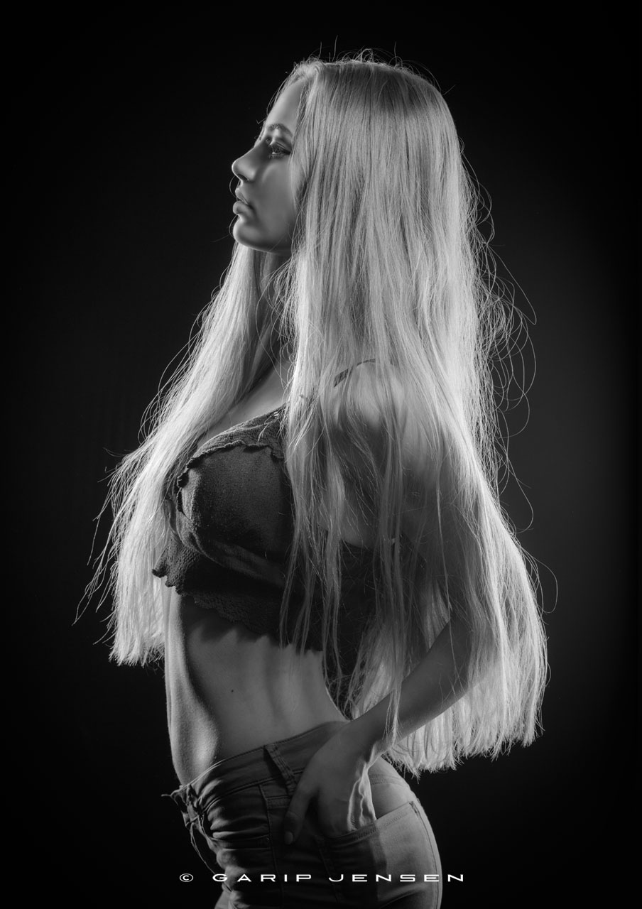 young Swedish model in long blond hair