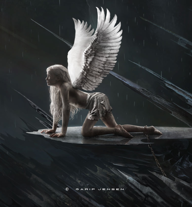 free your angel, showing just the angel, chained in a hard, dark cold place.