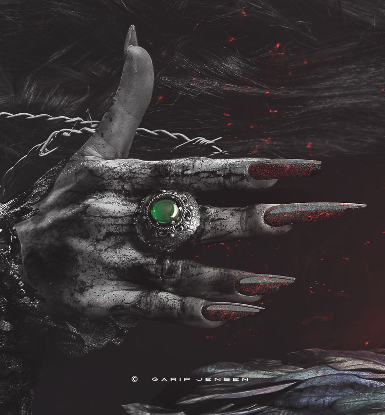 Detail of the dirty hand with a green ring, from the dark fashion portrait, created by Garip Jensen.