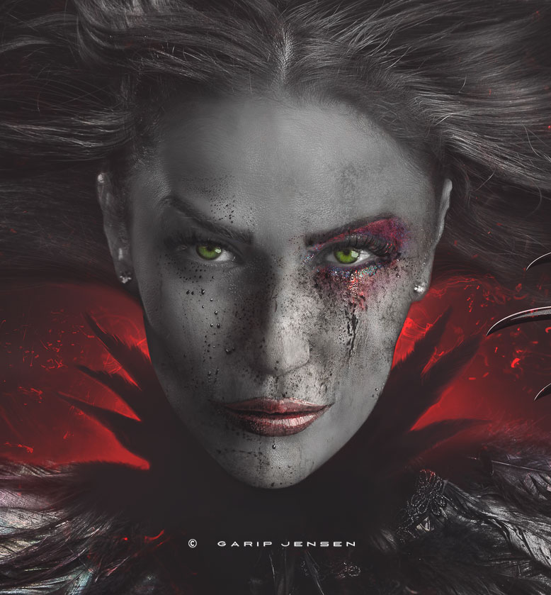 Photography or digital art - Dark Fashion Portrait, with black featherd collar, red glittery makeup and long claws. This images is just showing details of the final image.
