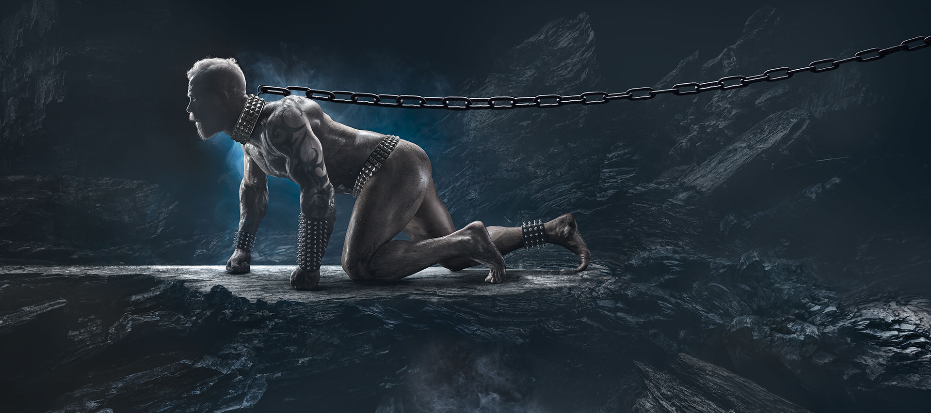 digital art where A naked muscular tattooed man imprisoned in a chain around his neck.