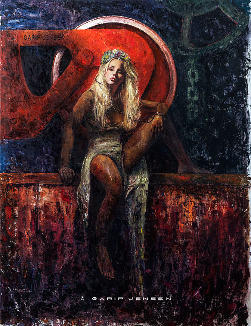 """The oil painting """"Mona"""" created by the artist Garip Jensen. A blond swedish model posing."""