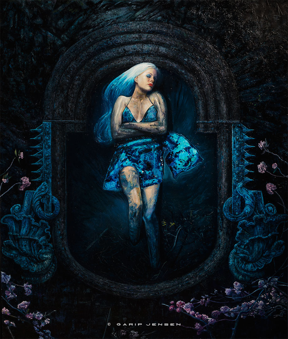 """The oil painting """"Natalie In blue"""" created by Garip Jensen."""