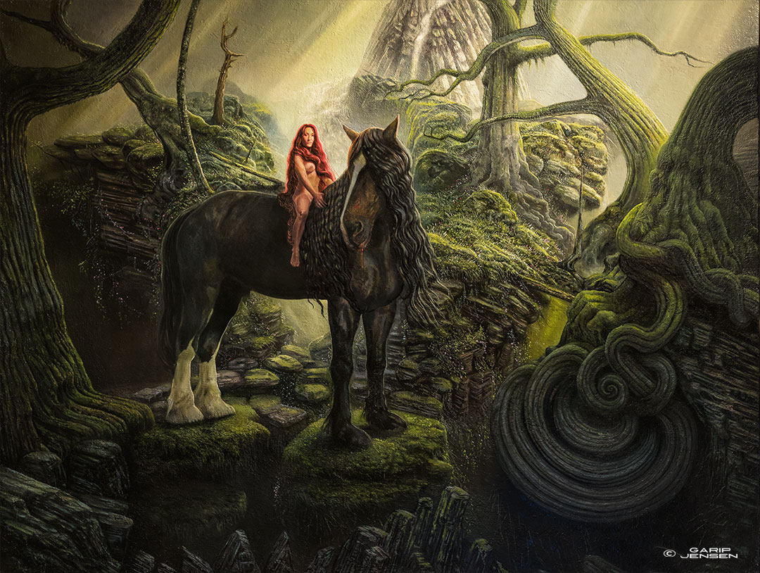 """The full paint """"My Lady Godiva"""" - a fantasy painting by Garip Jensen."""