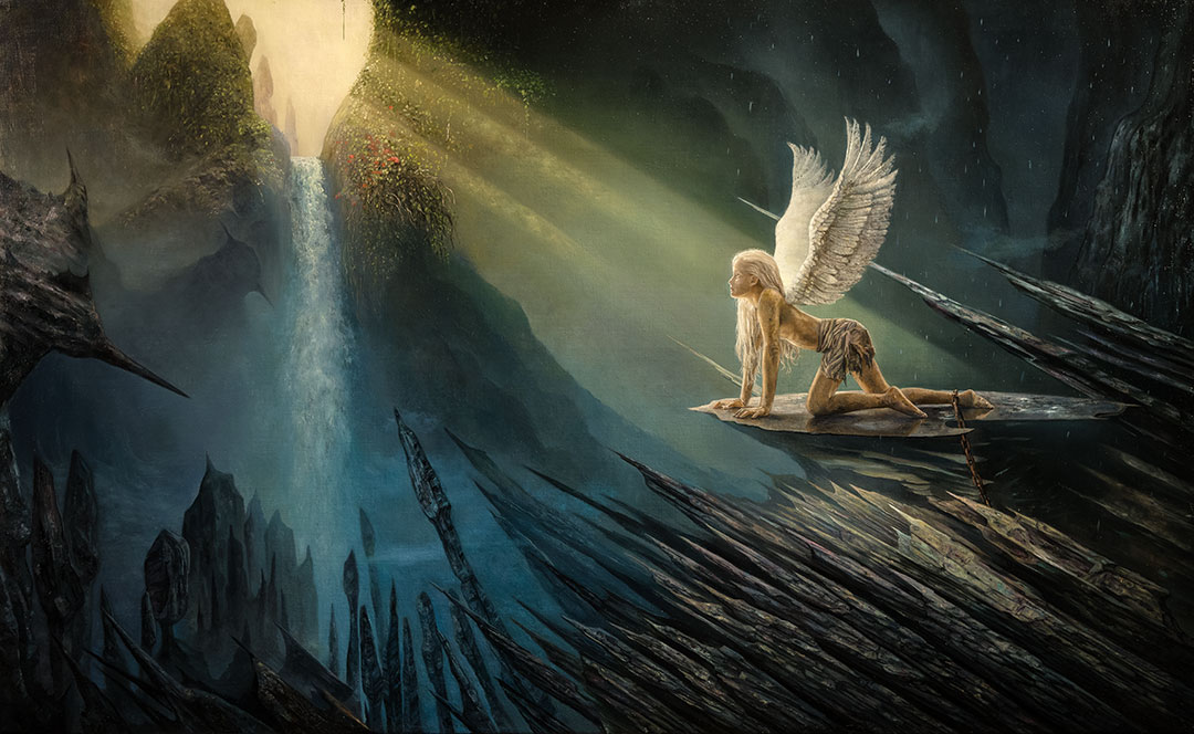 """The oilpainting """"Free Your Angel"""" by Garip Jensen where you can se a young female angel imprisoned in a dark cold barren place."""