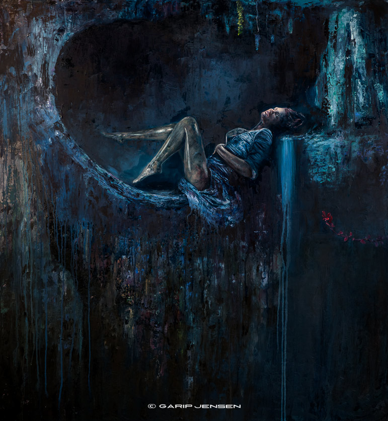 Chapter four in a cave - the full image of the oilpainting created by Garip Jensen.