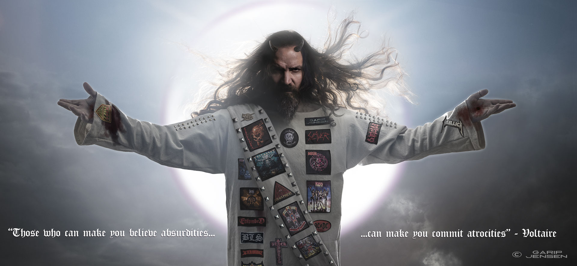 """Digital art by Garip Jensen that shows """"Rock n roll Jesus"""" with the quote """"those-who-can-make-you-believe-absurdities"""""""